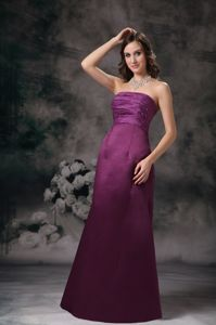 Purple Strapless Floor-length Middle School Graduation Dresses with Ruching