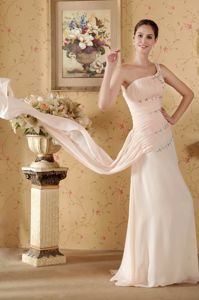Lovely Baby Pink One Shoulder Watteau Train Graduation Dress with Beading
