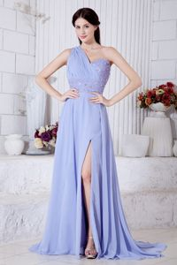Lilac Empire One Shoulder Watteau Train Graduation Dresses for High School