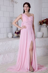 Column One Shoulder Rose Pink Senior Graduation Dress with Watteau Train