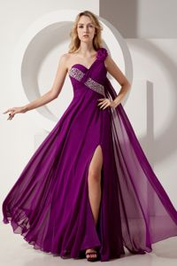 One Shoulder Floor-length Dark Purple Graduation Dresses for Middle School