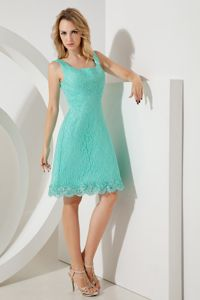 A-line Square Knee-length College Graduation Dresses in Turquoise with Lace