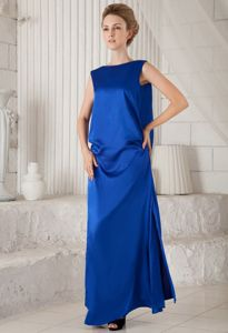 Latest Bateau Neck Blue Long Graduation Dresses with Special Back Design