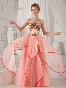 Zipper-up Watermelon Long Graduation Dresses for 8th Grade with Embroidery