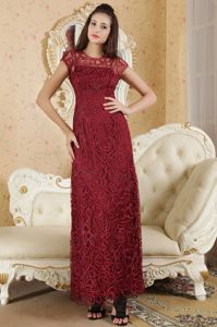 Special Fabric Cap Sleeves Burgundy Long Graduation Dress in Valley USA