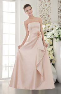 low Price Lace-up Strapless Baby Pink Long Graduation Dress under 100