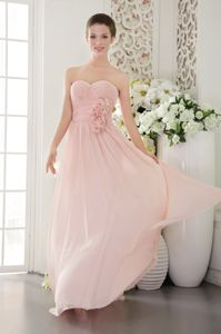 Pretty Sweetheart Pink Long Graduation Dresses for 8th Grade with Flowers
