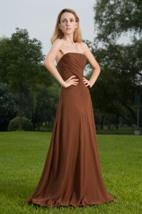 low Price Chiffon Strapless Brown Long Graduation Dress in Hazel Green AL