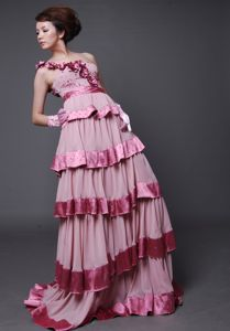 One Shoulder Tiered Pink Long Graduation Dresses for 8th Grade with Flowers