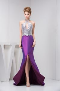 Halter Slitted Two-toned Mermaid Grad Dress with Keyhole and Paillette