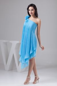 One Shoulder Pleated Aqua Blue Graduation Dress with Asymmetrical Hem