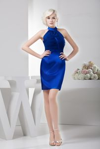 Elegant Halter Satin Royal Blue Fitted Mini Graduation Dresses for 8th Grade