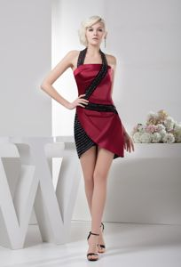 Modern Halter Beaded Black and Wine Red Graduation Dress Mini-length