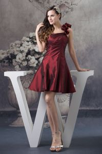 Clearance One Shoulder Mini Burgundy Graduation Dresses with Flowers