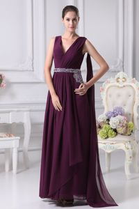 Cheap Lace-up V-neck Watteau Train Purple Graduation Dress Factory