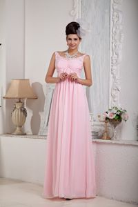 Baby Pink Scoop-neck Chiffon Graduation Dresses with Beading in Arizona