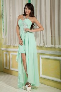 Sweetheart High-low Apple Green Dress for Graduate with Beads in Queens