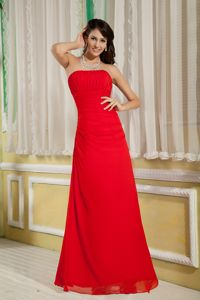 Column Chiffon Evening Dress for Graduates in Red with Ruche in Maryland