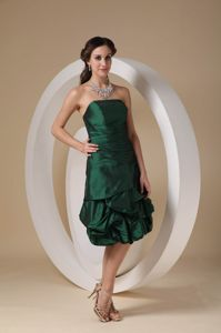 Strapless Homecoming Dress in Dark Green with Knee-length in California