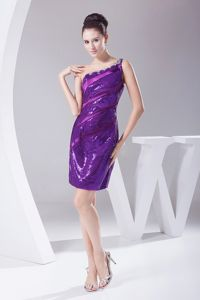 2013 Beaded One Shoulder Prom Dress in Purple with Sequin in Little Rock