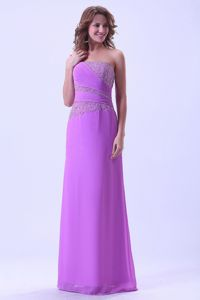 Lavender Chiffon Prom Dress for Graduate with Ruche and Beads in Huntsville