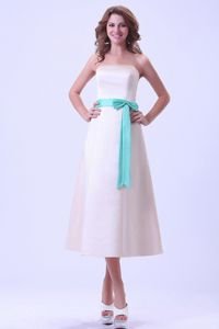 Tea-length Bridemaid Dress in Champagne with Turquoise Sash in Birmingham