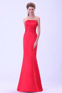 Mermaid Graduation Dresses in Coral Red Color with Brush Train in University Mall
