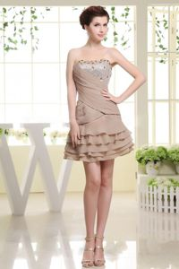 Short College Graduation Dress in Grey with Ruffled Layers in New Jersey