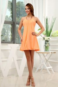 Halter-topes Dress for Graduation in Orange with Mini-length in Virginia