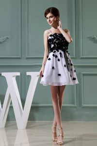 A-Line Graduation Dress in White and Black with Appliques in Washington