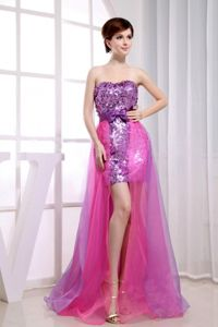 Hot pink and Purple Organza and Sequins Graduation Dress in New Jersey