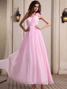 Rose Pink Evening Dress with One Shoulder Strap in Chiffon in Connecticut