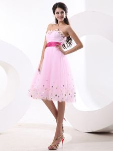 Knee-length College Graduation Dress in Baby Pink with Sash in Colorado