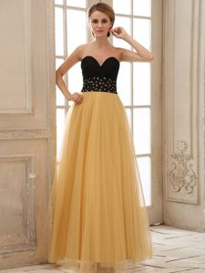 Beaded and Ruched Graduations Dress in Gold and Black Color in VA
