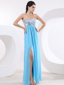 Special Aqua Blue Graduation Dress with Sequins and High Slit in Florida
