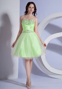 ... Knee-length A-line Spring Green Graduation Dress for Juniors in Moro