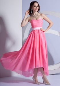 New Watermelon High-low Middle School Graduation Dresses with Sweetheart