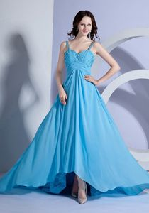 Light Blue Straps Middle School Graduation Dresses with Brush Train in Galva