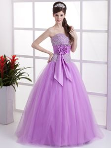 Sweet Lavender Sweetheart Junior Graduation Dress with Beading and Flower