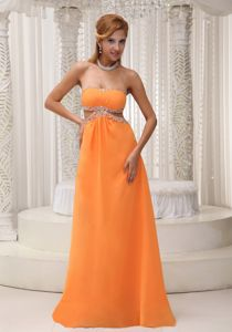 Orange Empire Floor-length Graduation Dresses for Girls with Cutout Waist