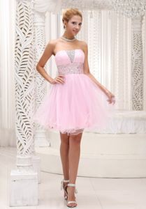 Lovely Baby Pink Mini-length Graduation Dress for Middle School in Ashland