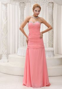 Watermelon Ruched Sweetheart Floor-length Eighth Grade Graduation Dresses