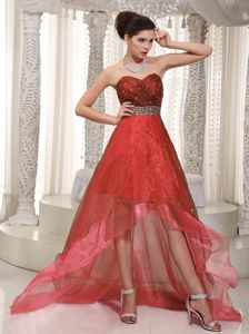 Rust Red Sweetheart High-low Graduation Dresses for High School in Calhoun