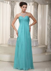 Fashionable Empire Sweetheart Floor-length Turquoise Cute Graduation Dress