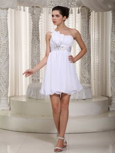 Empire One Shoulder Mini-length Middle School Graduation Dresses in White
