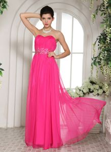 Hot Pink Sweetheart Floor-length Graduation Dress for High School in Forsyth