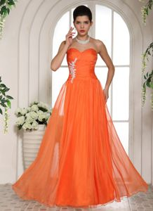 Orange Red Sweetheart Graduation Dresses for High School with Appliques