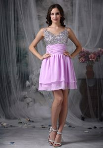 Lavender Empire Straps Short Middle School Graduation Dress with Beading