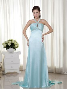 Light Blue Empire Halter Graduation Ceremony Dresses with Brush Train