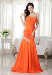 Orange One Shoulder Mermaid Brush Train Middle School Graduation Dress